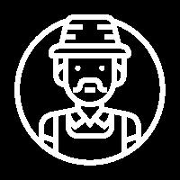 Farmer white icon